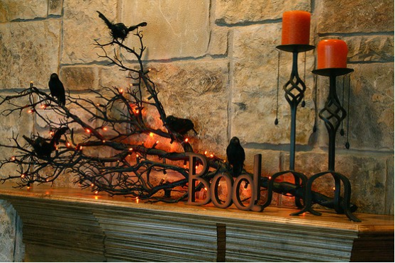 the rustic inspired decor here is simple yet foreboding there is something intriguingly eerie - Raven Halloween Decorations